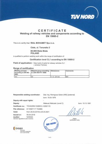 Certyfikat EN 15085-2
