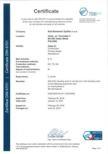 Certyfikat DIN 6701